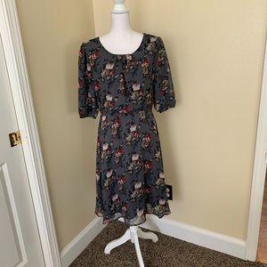 MIKAROSE Gray Floral Lined Dress